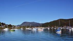 Yachts on a Still Spring Morning in Waikawa Bay, New Zealand Royalty Free Stock Photos