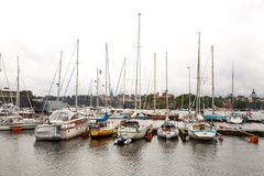 Yachts in Stockholm. Stockholm, Sweden - August 11, 2014 -Yachts in harbor of Djurgarden Royalty Free Stock Photos