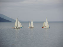 Yachts in a stormy cloudy day. Ushuaia bay, Argentina, April 2103 Royalty Free Stock Photo