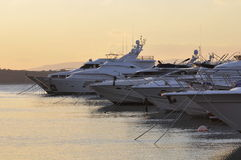 Yachts in sunset. Beautiful luxury yachts in sunset Royalty Free Stock Image