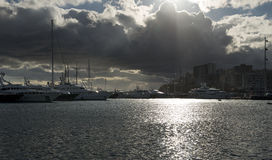 Yachts on sunset in athens greece. Panoramic view Stock Photos