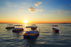 The yachts at sunset on lake Royalty Free Stock Photography