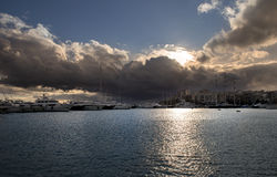 Yachts on sunset. In piraeus port athens, greece Stock Image