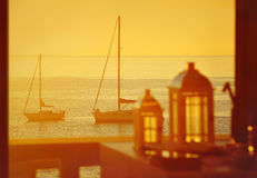 Yachts at sunset Royalty Free Stock Image