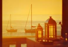 Yachts at sunset Royalty Free Stock Image