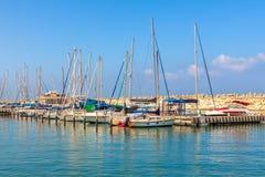 Yachts sur la marina d'Ashkelon, Israël Photos libres de droits