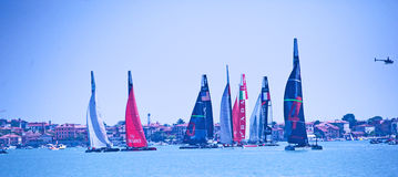 Yachts taking part in Americas Cup Race Royalty Free Stock Images