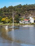 Yachts in the Tamar River, Launceston stock photography