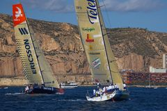 Yachts Telefonica Blue and Ericsson in VOR Royalty Free Stock Photo