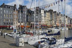 Yachts tied at the harbor in Honfleur, France. Stock Image