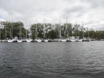 Toronto island park, Toronto, Canada. Yachts at Toronto island park. The Toronto Islands are a chain of small islands in Lake Ontario, south of mainland Toronto royalty free stock photos
