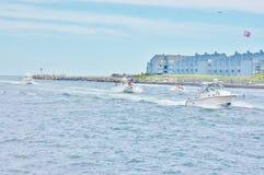 Yachts traffic  season new jersey state usa Royalty Free Stock Images