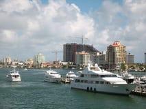 Yachts at Urban Dock Royalty Free Stock Photos