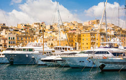 Yachts in Valletta pot Stock Images