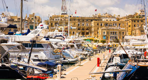 Yachts in Valletta pot Stock Photography