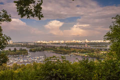 Yachts, water carriage. Panoramic horizontal of big city. View f Stock Image