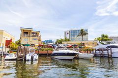 Yachts at waterfront side in Fort lauderdale Royalty Free Stock Images