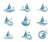 Yachts and waves icons. Icons collection of sailing yachts and ocean waves with seagulls Royalty Free Stock Photography