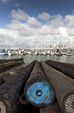 Yachts at Westhaven Marina. Spring down in the marina just as the rain has lifted Royalty Free Stock Photography