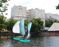 Yachts with white sail in the city Moscow stock images