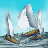 Yachts with white sail on the sea, hurricane, storm royalty free stock photography