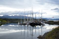 Yachts in williams port, chile. Yacht club in the southernmost city in the world. Puerto Williams Chile Stock Images