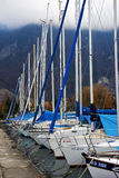 Yachts on winter parking lot on Lake Royalty Free Stock Photos