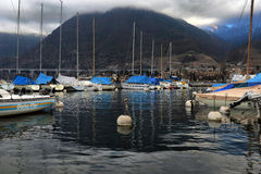 Yachts on winter parking lot on Lake Stock Photo