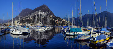 ,Yachts on winter parking lot on Lake Stock Photo