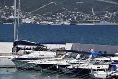 Yachts in the yacht club. Yachts sailing diving enthusiasts. Port of Novorossiysk Royalty Free Stock Photography