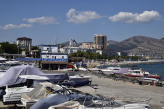 Yachts in the yacht club. Yachts sailing diving enthusiasts. Port of Novorossiysk Royalty Free Stock Photos