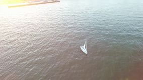 Yachtsegling i en fj?rd p? en ljus solig afton arkivfilmer
