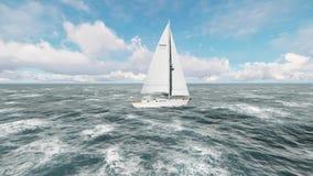 Yachtsegling på det öppnade havet Seglingseglingvideo ovanför yachten vektor illustrationer