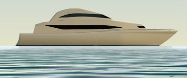 Yachtsidosikt illustration 3d Arkivbilder