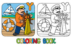 Yachtsman coloring book. Profession ABC Alphabet Y. Coloring picture or coloring book of funny captain or sailor, or yachtsman in coat, at the helm. Profession Royalty Free Stock Photos