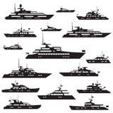 Yachtsymbolkontur vektor illustrationer
