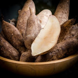 Yacon roots on a bowl. With dark background Royalty Free Stock Photos