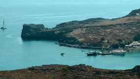 Yact in the Lindos bay stock video footage
