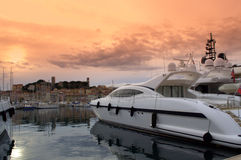 Yact port at sunset,Cannes Royalty Free Stock Photos