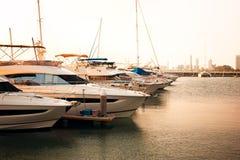 Yacth park at pier Royalty Free Stock Photos