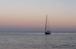 Yacth in sunset. Black sea. Royalty Free Stock Images