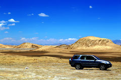 The Yadan landforms and Desert scenery in Tibetan Plateau Stock Photo