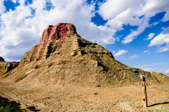 Yadan Landforms - The devil city in xinjiang. Devil city located in China`s xinjiang , this area are the characteristic of Yardang landforms. Strong wind like Stock Photos