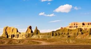 Yadan Landforms - jäkelstaden i xinjiang royaltyfri foto