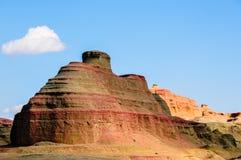 Yadan Landforms - jäkelstaden i xinjiang royaltyfria bilder