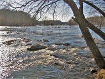 Yadkinrivier dichtbij winston-Salem, Noord-Carolina stock fotografie