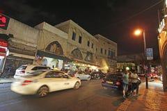 Yaffo velho na noite, Israel Fotografia de Stock