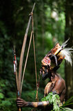 Yafi Leader. INDONESIA, NEW GUINEA, SECTOR SENGGI - 2 FEBRUARY 2009: The Leader  of a Papuan tribe of Yafi in traditional clothes, ornaments and a coloring Royalty Free Stock Photography