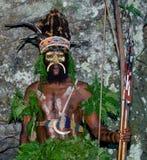 Yafi Papuan部落的战士在传统衣裳、装饰品和着色的 新几内亚海岛, 免版税库存照片