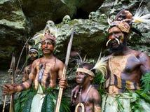 Yafi Papuan部落的战士在传统衣裳、装饰品和着色的 新几内亚海岛, 免版税图库摄影